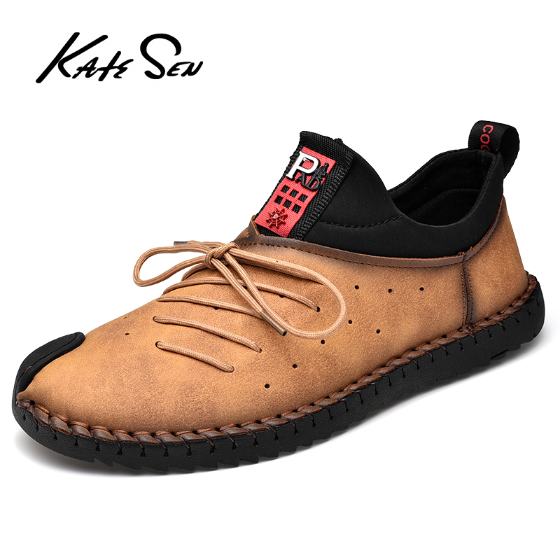 KATESEN Brand New High Quality Leather Men Shoes Outdoor Breathable Sneakers Fashion Casual Shoes Lace-up Men Loafers Big Size