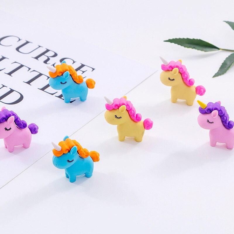 Kawaii Fat Unicorn Rubber Eraser Cute Pencil Eraser Cartoon Mini Eraser For Kids Girls School Stationery Correction Supplies