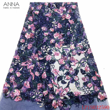 Anna latest french sequins lace fabric 2020 high quality embroidery 5 yards/piece african tulle laces fabrics for garment sewing