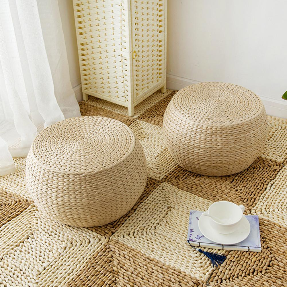 Natural Woven Weave Grass Futon Floor Cushion, Handmade Straw Woven Zafu Yoga Meditation Mat Round Square Braided Pad