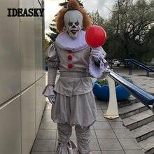 Anime 2018 stephen king's bu pennywise en palyaço kostümü cosplay terör palyaço film cadılar bayramı kostümleri erkekler için yetişkin fantasia