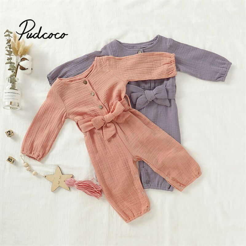 2020 Children Spring Autumn Clothing Baby Kids Boys Girls Infant O-Neck Solid Romper Jumpsuit Long Sleeve Clothes Outfits 0-24M