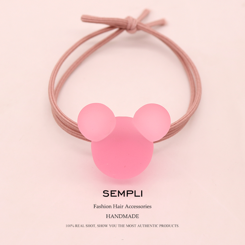 Sempli High Elasticity Nylon Elastic Hair Bands Frosted Transparent Mickey Minnie Headwear For Women Kid Children Rubber Bands