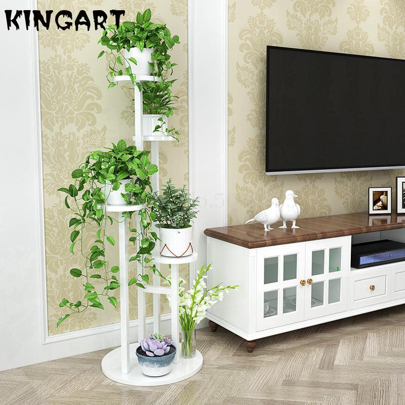 Rack-Stand Indoor Flower-Shelf Wood Balcony Wrought Living-Room 3 101636