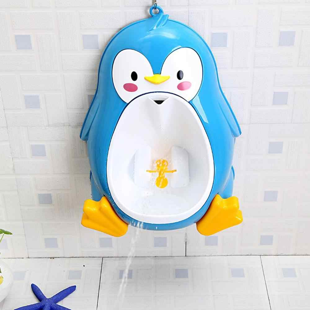 Longspeed Cartoon Cute Penguin Potty Urinal Toilet Standing Urinal Bathroom Children Pee Trainer for 8 Month to 6 Years Old Boys Black