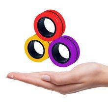 3 pçs anti-stress dedo anéis magnéticos crianças descompressão fingertip brinquedo mágico anel ferramenta para autismo adhd ansiedade alívio foco