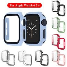 1PC couverture complète mat boîtier en PC avec verre trempé protecteur d'écran 2 en 1 étui pour Apple Watch série 6 5 4 iWatch 40mm 44mm