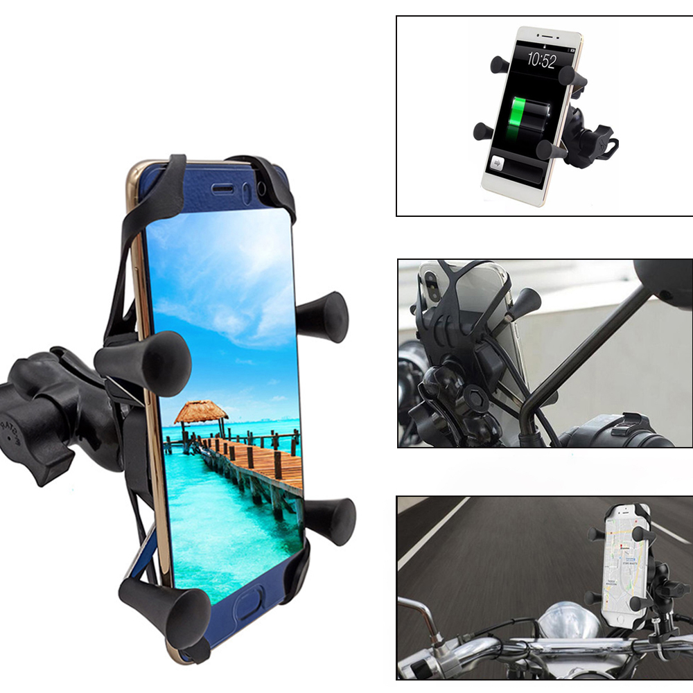 Universal Motorcycle Mobile Phone Holder With USB Fast Charger Switch For <font><b>Yamaha</b></font> xt 660 MT125 MT01 MT03 <font><b>MT25</b></font> mt 125 01 03 25 image