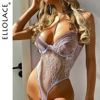 Ellolace Bodysuit Women Transparent Overalls for Lace Body Suit Bodys Sexy Sleeveless Bodysuits Dropshipping