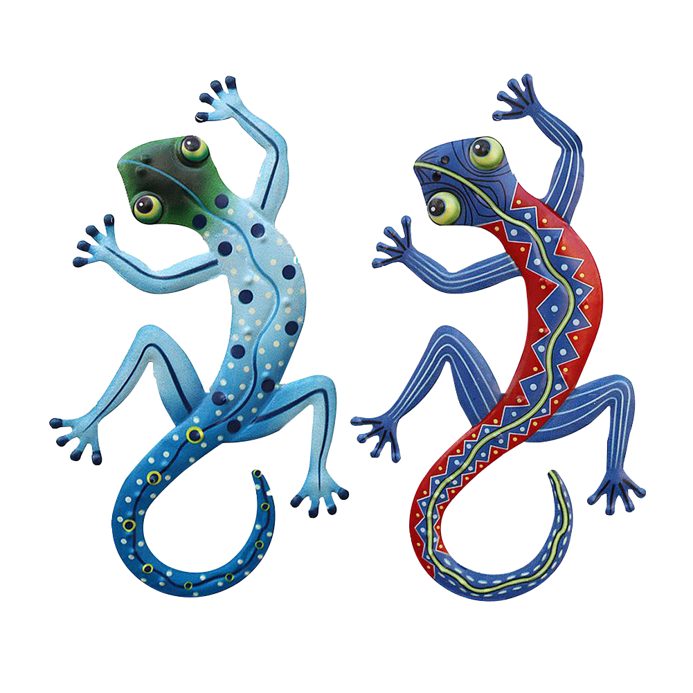 2pcs Craft Fence Wall Decoration Art Outdoor Sculpture Metal Gecko Home Handmade Statue Lizard Small Garden Yard Kids Gifts