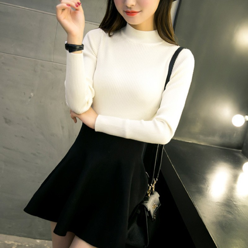 Female Autumn Winter New Slim Solid Color Sweater Women Korean Style Casual Turtleneck Knit Pullover Sweater