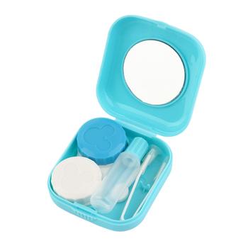 Plastikowy przenośny Mini kontakt futerał na okulary podróż kontakt etui na soczewki pojemnik z lustrem łatwe przenoszenie do pielęgnacji oczu tanie i dobre opinie Unisex CN (pochodzenie) Stałe