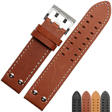 Genuine leather watchband 20mm 22mm for Hamilton brand watch straps black khaki brown with stainless steel buckle цена 2017