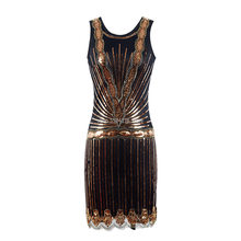 Vrouwen 1920 S Gatsby Party Dress Vintage Flapper Girl Sequin Bead Mouwloze Diepe V Terug Backless Zomer Jurk(China)