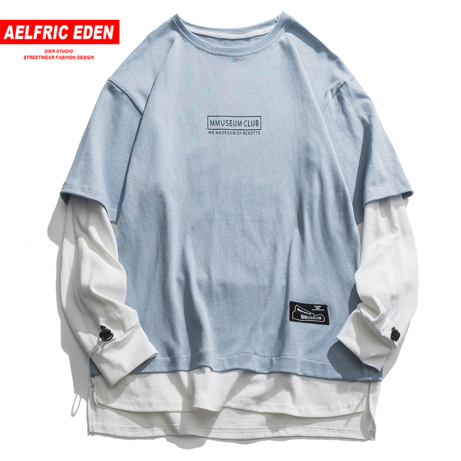 Aelfric Eden Fake Two Pieces Letter Print Mens Sweatshirts 2020 Haraju