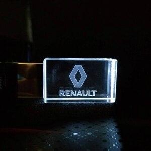 USB 2,0, unidad Flash USB de cristal metálico para coche de Renault, 4G, 8GB, 16GB, 32GB, 128GB, regalo especial
