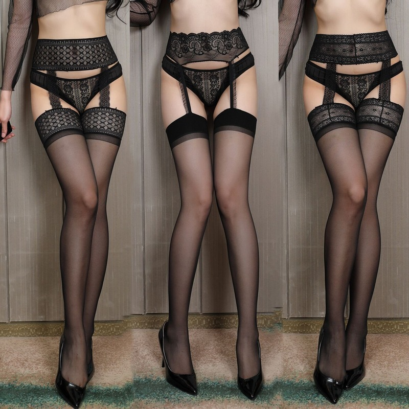 Sexy Lingerie Thigh High Stockings With Garters Ladies Intimates Stockings Set Open Crotch Sexy  Garter Belt Stockings