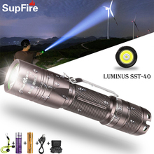 Supfire A6 High Power Flashlight Mountaineering Remote Searchlight USB Rechargeable Flashlight LED Glare Self-Defense