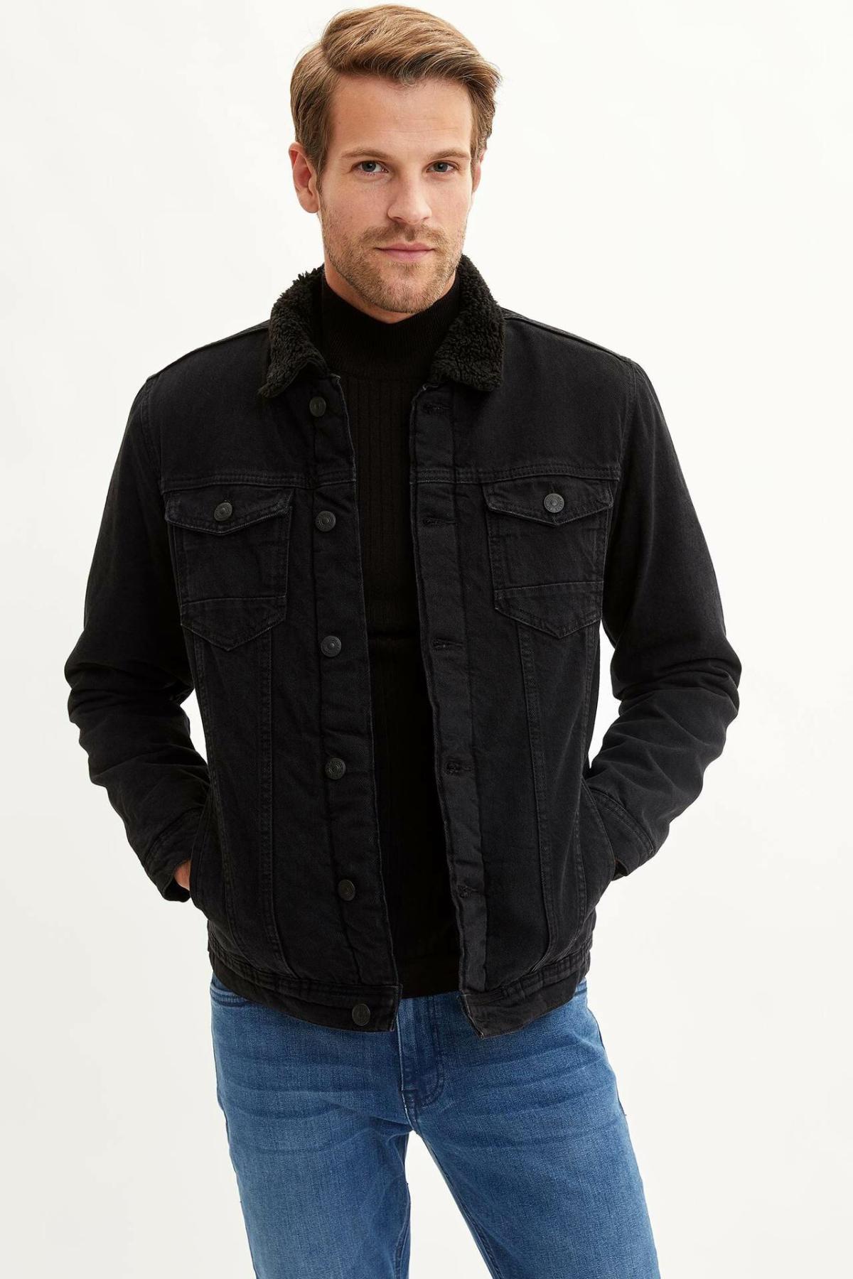DeFacto Man Black Lapel Denim Joker Short Jacket Casual Pocket Streetwear Fashion Tide Slim Denim Jacket -L5570AZ19WN