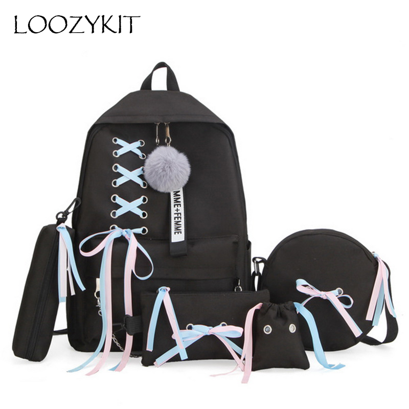 USB Backpack Chain Shoulder-Bag Tassel Canvas Teenager Female Women Student 5pcs/Set