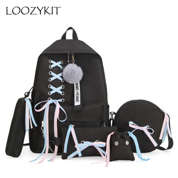 Chain USB Backpack Women Canvas Backpack School Bags for Teenager Girls Shoulder Bag Female Student Schoolbags 2020 5pcs/set