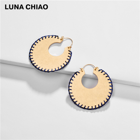 LUNA CHIAO Trendy Fashion Big Metal Hoop Earring Braided Handmade Big Boho Statement Earrings for Women Lahore