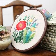 Kit de bordado colgante Vintage con marco DIY, material para sala de estar, hogar, regalo de punto de Cruz, tela Floral, pieza artística con dibujo