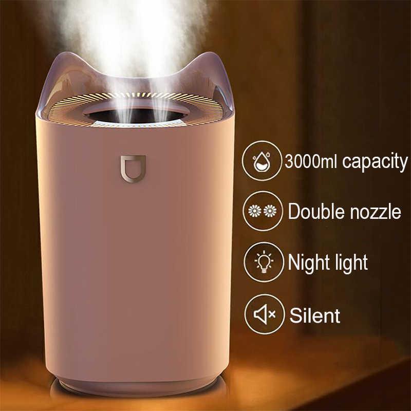 Ba30DEllylelly Difusor humidificador de niebla de 220 ml humidificador dom/éstico alimentado por USB difusor de aceite esencial humidificador de coche silencioso colorido LED