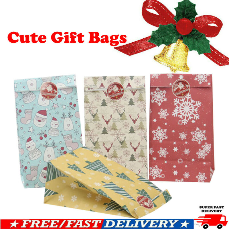 24pcs Christmas <font><b>Kraft</b></font> <font><b>Paper</b></font> <font><b>Handle</b></font> Bags Shopping Carrier Present Gift Bags Festival Gifts <font><b>Boxes</b></font> image
