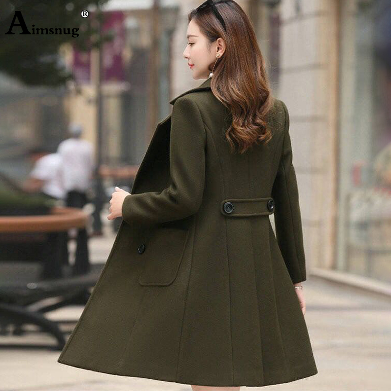 Aimsnug New Arrival Autumn and Winter Solid Woolen Coat Female Long Paragraph Double breasted Knee Length Women Hairy Coats in Wool amp Blends from Women 39 s Clothing