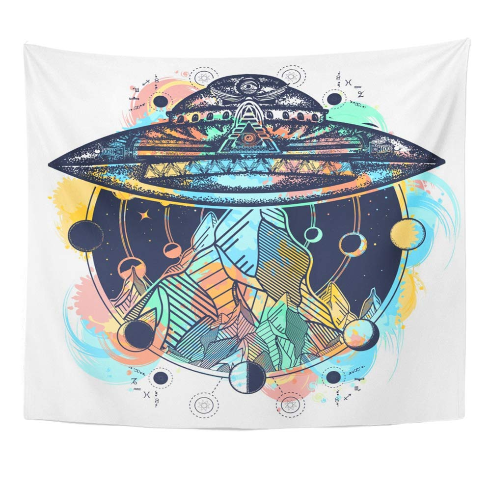 Mandala 50x60 Inches Watercolor Space UFO Ship and Mountains Color Tattoo Aliens Astrology Camping Kidnap Decor