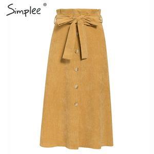 Image 5 - Simplee A line kadife etek kadın sonbahar kış vintage harajuku kadın midi etek zarif yüksek bel kuşak kemer bayanlar etek