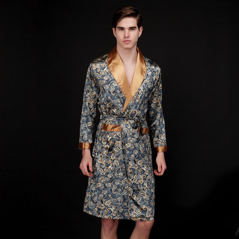 Mens Summer Pajamas Simulation Silk Men Long House Nightgown Long Sleeve Homewear Male Clothes WholeTide
