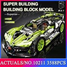 MOC 2021 Mechanical Series famous Racing car Green Supercar Building Blocks 3588pcs Bricks Toys Gift
