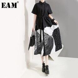 Женское платье-рубашка с отложным воротником EAM, черное свободное платье большого размера с принтом, короткими рукавами, весна-лето 2020, 1T565