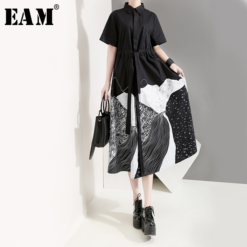 [EAM] Women Black Printed Drawstring Big Size Shirt Dress New Lapel Short Sleeve Loose Fit Fashion Spring Summer 2020 1T565