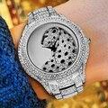 MISSFOX хип-хоп Iced Out часы Полный алмаз Leopard Роскошные брендовые оригинальные мужские часы Роскошные Кварцевые наручные часы с подарочной короб...