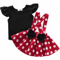 Conjuntos de ropa para niña, Top de manga larga negro de Color sólido + falda con correa con puntos, conjuntos de 2 uds.