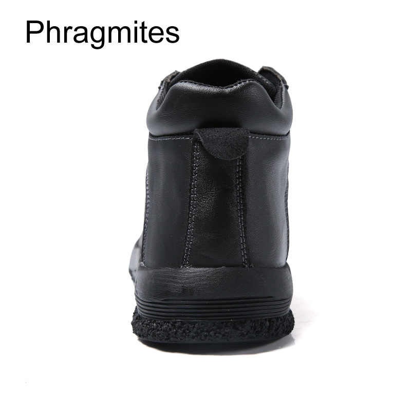 Phragmites 2019 Yeni Zapatos De Hombre Deri Düz Erkek Botları Moda Perçin Nefes Botas Mujer Kış Kürk Ayak Bileği erkek ayakkabısı
