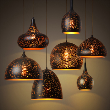 Black Iron Pendant Lamp Vintage Coffee Shop Pendant Lights Hanging Single Bar Restaurant Industrial Wind Rusty Pendant Lamp E27