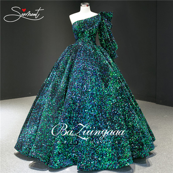 Middle East  Luxury Malachite green Wedding Dress Oblique Shoulder BAZIIINGAAA Large Sequins  Wedding Noble Decal Muslim Bride spain colorful sequins flash wedding dress word gradient gradient sequins burst gold bride wedding baziiingaaa