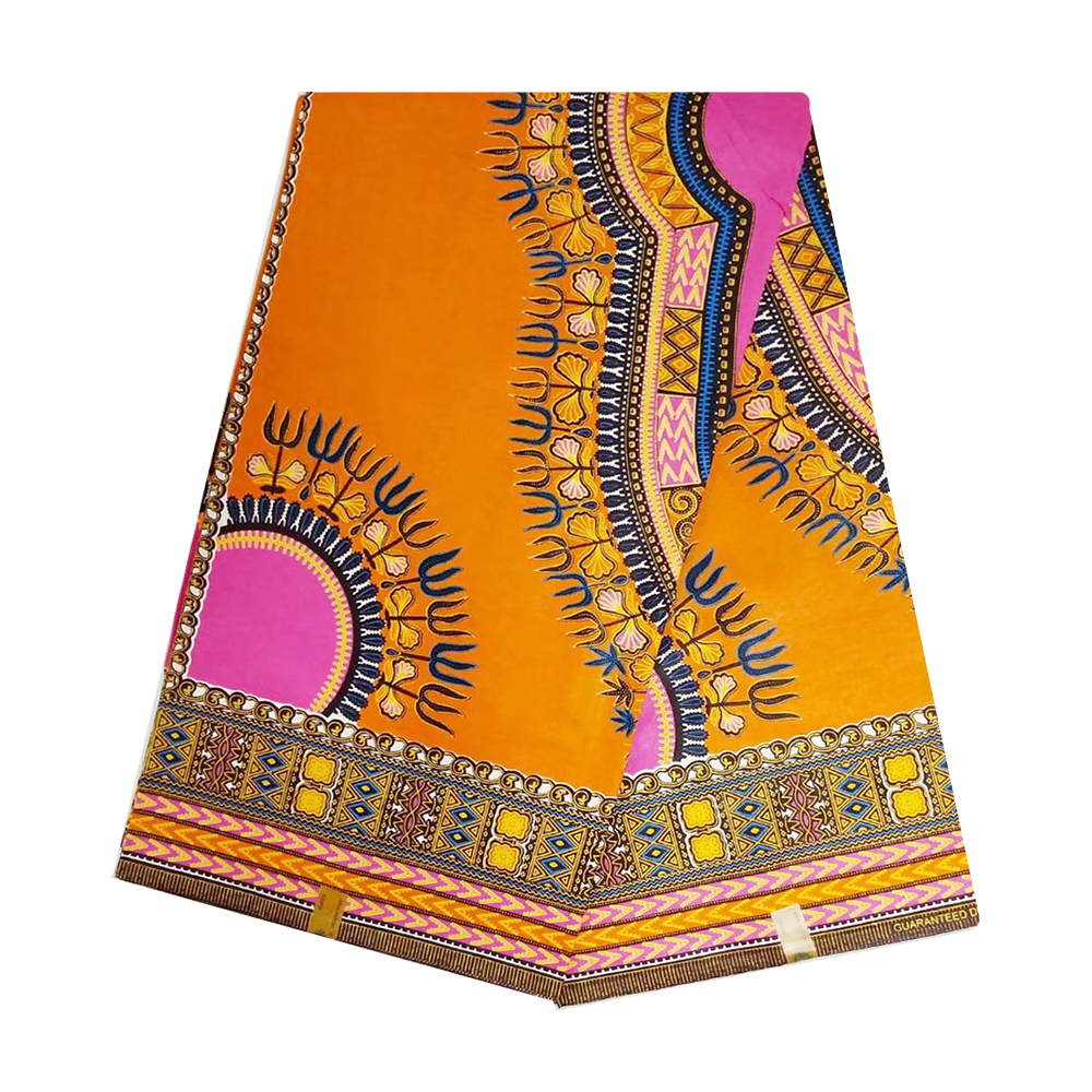 Orange African Wax Fabric High Quality Cotton Veritable Dutch Netherlands Print Nigerian Ankara Tulle Wax Pange Cloth For Women