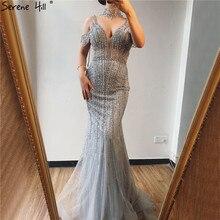 Dubai Champagne Pearls Diamond Evening Gowns Design 2020 V Neck Sleeveless Sexy Evening Dresses Serene Hill DLA70055
