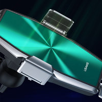 USAMS 15W Wireless Car Charger For iPhone Huawei Xiaomi Fast Car Qi Wireless Charging Holder For Samsung Xiaomi Induction Charger Clamp
