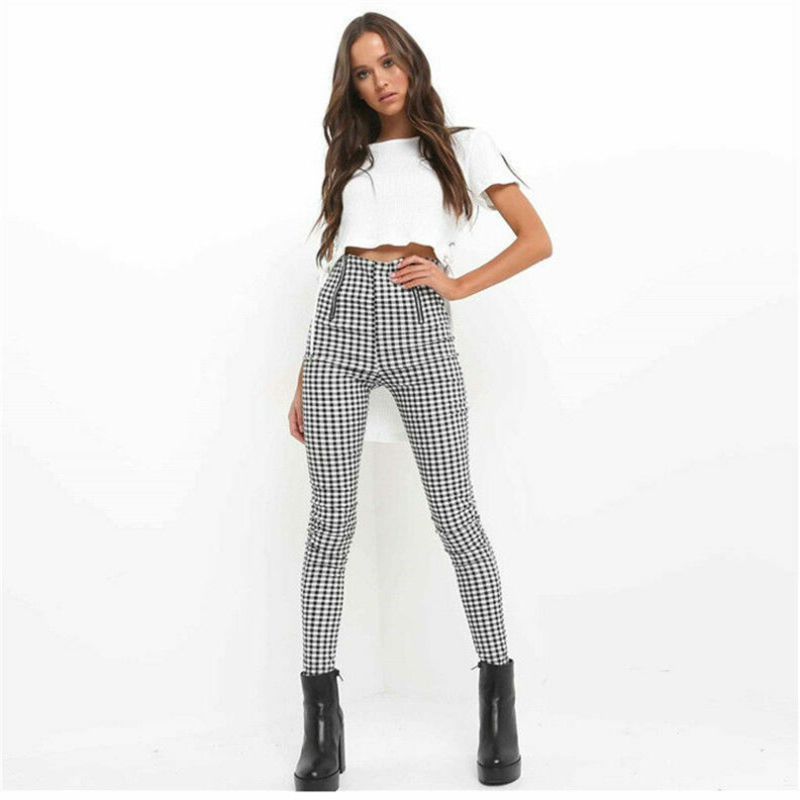 Women's High Waist Zip-up Plaid Sexy Pants Sweatpants Striped Trousers Stretch Tartan Casual Skinny Pants Jeggings