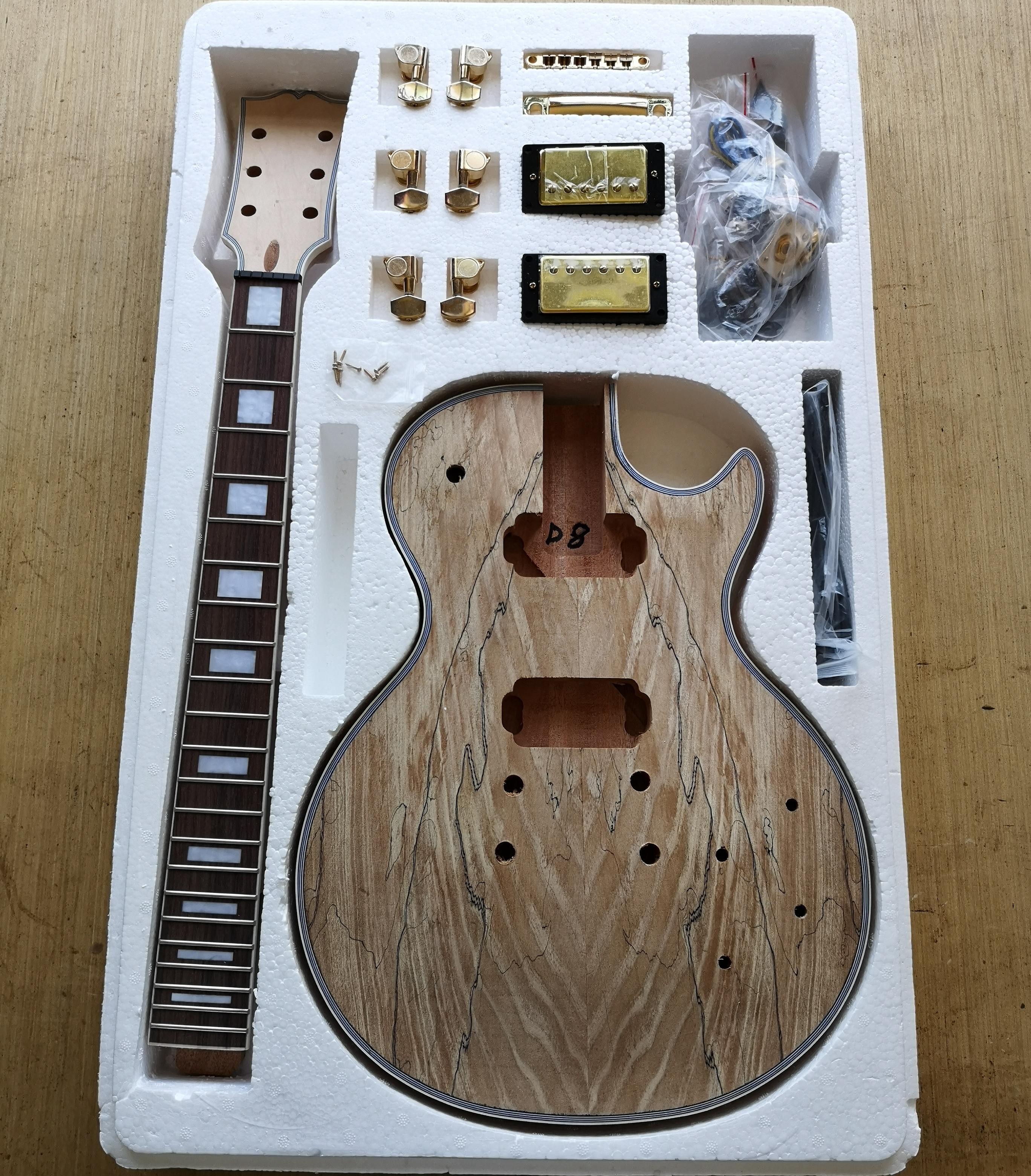 DIY LP Style Electric Guitar Spalted Maple VENEER+ African Mahogany Okoume Body Neck Rosewood Fingerboard Set Guitars In Stock