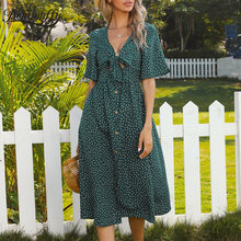 Benuynffy Deep V Neck Bow Front Polka Dot Button Women Dresses Summer Short Sleeve Holiday Style A-Line Knee Length Dress 2021