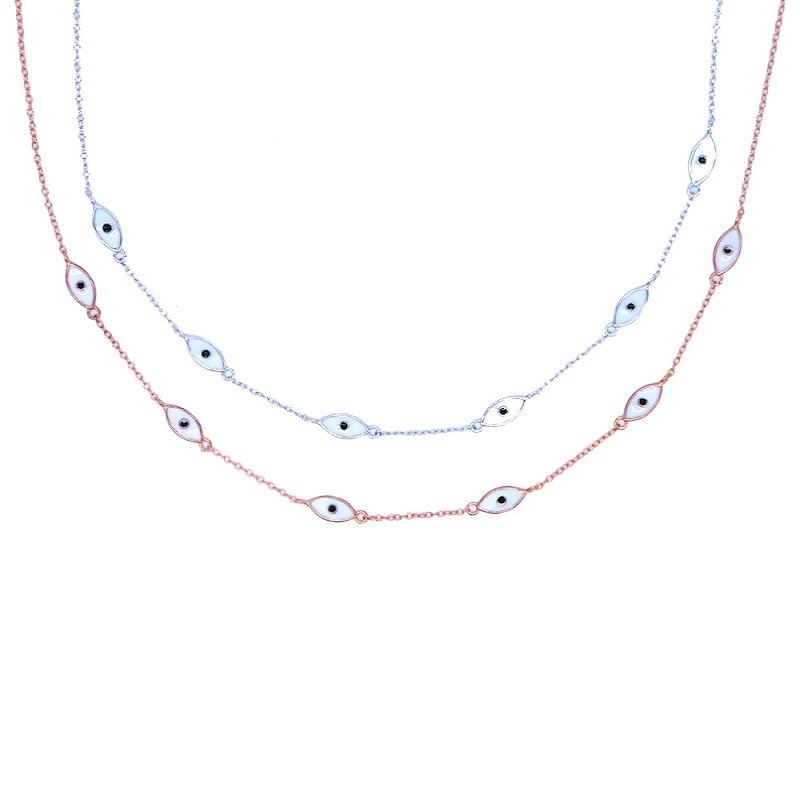 2019 fine 925 Sterling Silver white ocean sea Blue Enamel eye charm Pendant Necklaces Women 925 Silver Jewelry enamel eye choker