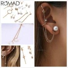 ROMAD Bohemia Earrings For Women Long Tassel Earings Pearl Zircon Moon Stone Earring Set Girl Ear Bone Chain Clip arete Korea R5