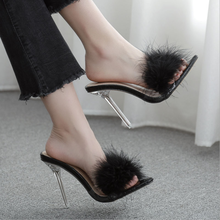 Woman Shoes Pumps Fur-Slippers Mules Crystal High-Heels Transparent Lady Cute AQ110 Peep-Toe